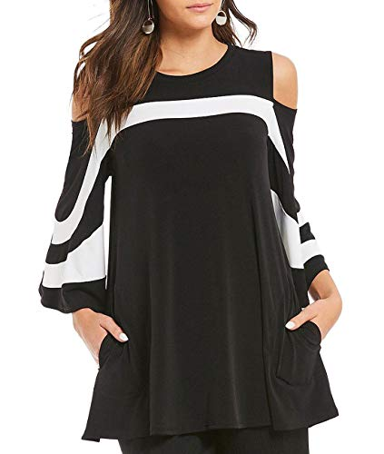 - SEBOWEL Women's Plus Size 3 4 Sleeve Black White Color Block Cold Shoulder Tunic Tops Loose T Shirt XL