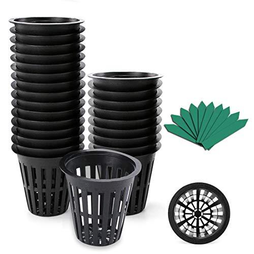 GROWNEER 100 Packs 2 Inch Garden Slotted Mesh Net Cups, Heavy Duty Net Pots with 100Pcs Plant Labels, Wide Lip Bucket…