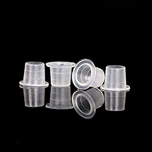 AKOAK 200 Pcs Disposable Plastic Tattoo Ink Caps Cups for Tattoo Ink Tattoo Supplies(Sizes #8 Small)