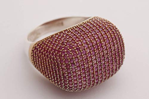 Fantastic Design! Turkish Handmade Jewelry Round Cut Pink Ruby Zircon Stone 925 Sterling Silver Ring Size 8