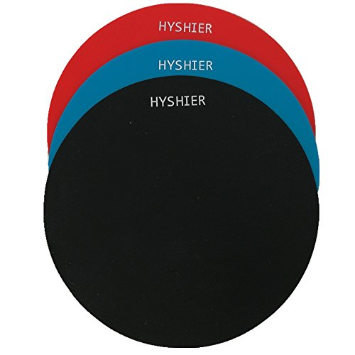 HYSHIER Silicone Jar Grips, 5 Inches in Diameter Gripper Pads, Durable Bottle Openers, Thick Round Pad - Set of 3 - Red Black Blue, Multi-Purpose Use as Coasters (Red, Black,Blue) ()