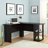 L-Shaped Desk with Side Storage /Dark Russet Cherry