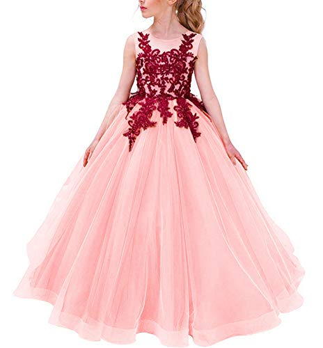TTYAOVO Girls Embroidered Princess Pageant Ball Gowns Wedding Party Dress Size 8-9 Years Peach