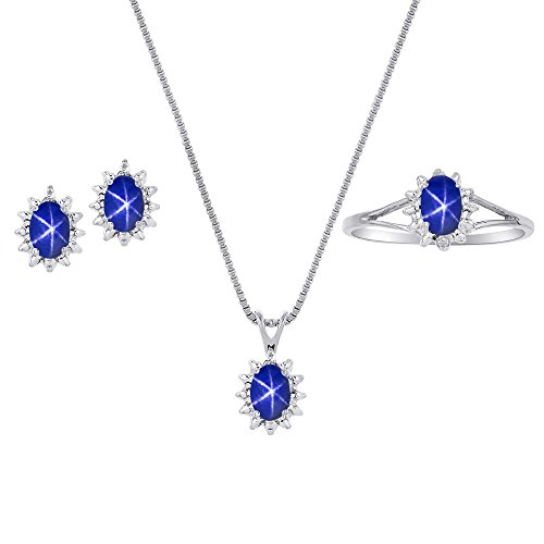 (Blue Star Sapphire & Diamond Pendant, Earrings & Ring Set in Sterling Silver .925 with Chain and Gift Box)