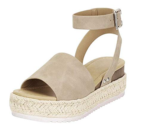 Open Toe Sandals for Women in Khaki with Strap Plus Size Fashion Stylish Leather Size 42