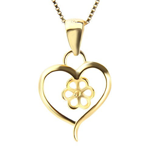 (NY Jewelry 1 Piece Heart Gold Plated Pearl Pendant)