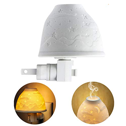 Ceramic Relief - Night Lights Plug in, Kimfly Ceramic Art Night Light Wall Night Light with Essential Oil Aromatherapy Furnace and Incandescent Bulb, Suit for Bedroom, Living Room, Hallway (Stars & Moon(Gift-Set))