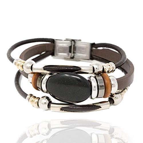 Chuvora Stainless Steel, Brown Leather, Wood & Black Stone Beaded Wrap Multi Layer Strand Bracelet