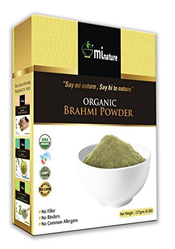 - mi nature Organic Brahmi Leaves Powder (Bacopa Monnieri) USDA Certified BRAHMI Powder- 227 g/8 OZ/1/2 lb | 100% Natural & Pure Hair Conditioner | Vegan