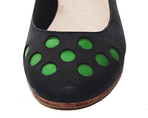 Scarpa mano di Nabuk pelle Verde in Ballerina pallini a realizzata e colorati in PelleRock pelle CAnwIqdAS