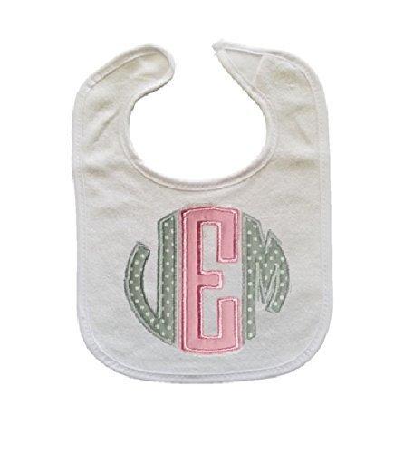Personalized 3 Letter Initials Monogram Baby Boy or Girl Bib (Initial Baby Bib)
