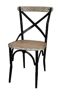 Antic Line Chaise Fer Bois Vieux Pin Blanc 50 X 88