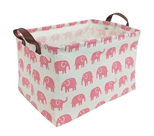 HIYAGON Rectangular Storage Box Basket for Baby, Kids or Pets - Fabric Collapsible Storage Bin for Organizing Toys,Nursery Basket,Clothing,Books, Gift Baskets (Pink -