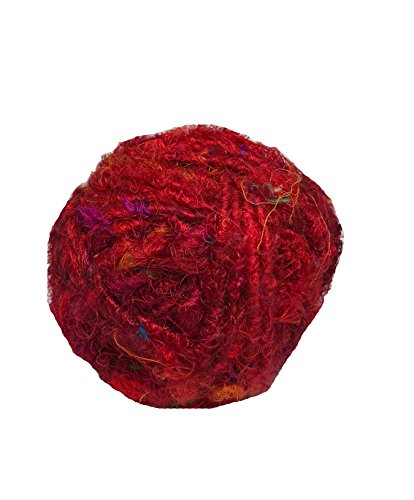 Recycled Sari Silk Super - Premium Bulky Yarn - Red 85 Yards, 100 Grams, 1 Gum Ball