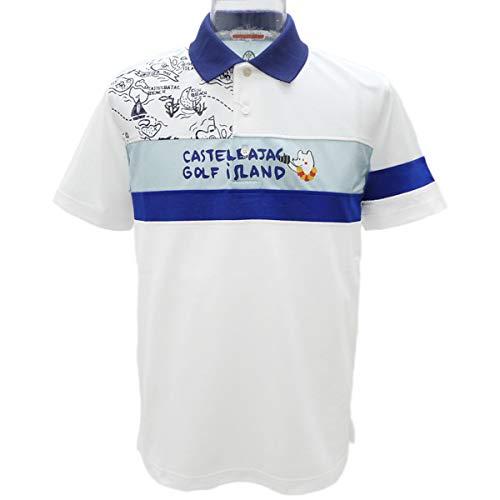 [カステルバジャック] ハワイゴルフ柄 切り替え半袖ポロシャツ《オフ白》(LL)PS*022317010501   B07S6LDT38