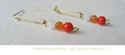 Moonstone Yellow Earrings - GemsBeautique Gorgeous 14k Yellow Gold Filled Bar Post 1 3/8