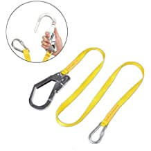 GUSODOR Safety Lanyard Outdoor Climbing Harness Belt Lanyard Fall Protection Rope With Large Snap Hooks, Carabineer