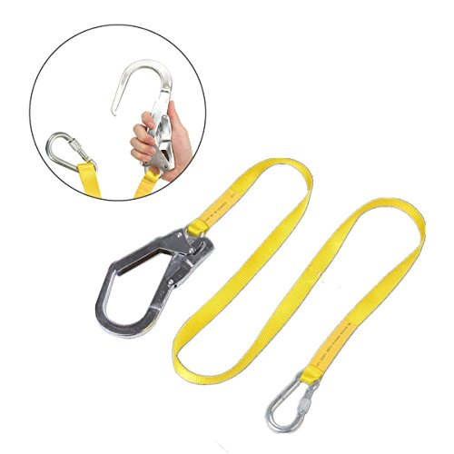 (GUSODOR Safety Lanyard Outdoor Climbing Harness Belt Lanyard Fall Protection Rope With Large Snap Hooks, Carabineer)