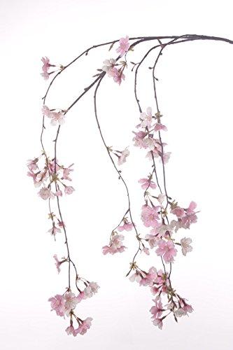 artplants Set 3 x Künstlicher Kirschblütenzweig Kagami, 90 Blüten, rosa, 120 cm - Dekozweig/Kunst Blütenzweig 90 Blüten
