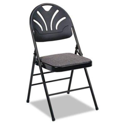 Samsonite BridgePort 36875KNB4 Fabric Padded Seat/Molded Fan Back Folding Chair, Kinnear Black, 4/Carton by Bridgeport