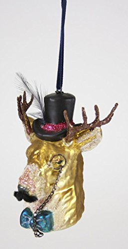 Cody Foster Gentleman Stag Ornament Hand-Blown Glass Monocle Hat Bowtie - Top Hat Blown Glass Ornament
