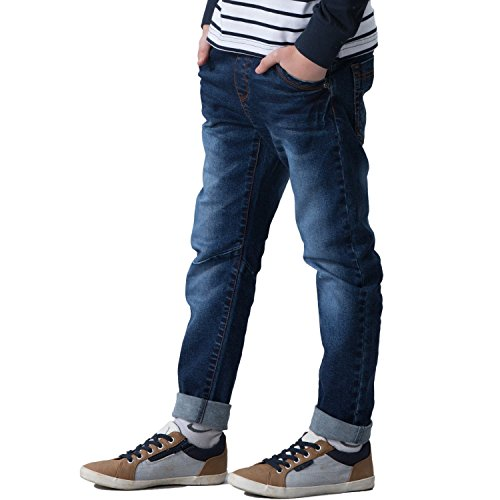 Leo&Lily Big Boys' Kids' Husky Rib Waist Stretch Denim Jeans Pants (Navy, 14)