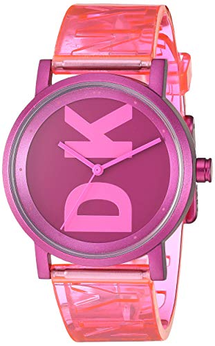 DKNY Women's Soho Quartz Watch with Polyurethane Strap, Pink, 17.7 (Model: NY2809) from DKNY
