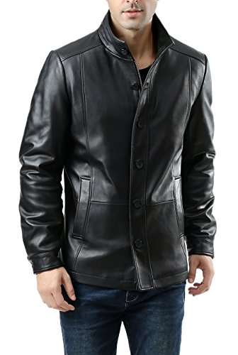 BGSD Men's Brady New Zealand Lambskin Leather City Jacket - Black M - New Zealand Lamb Jacket