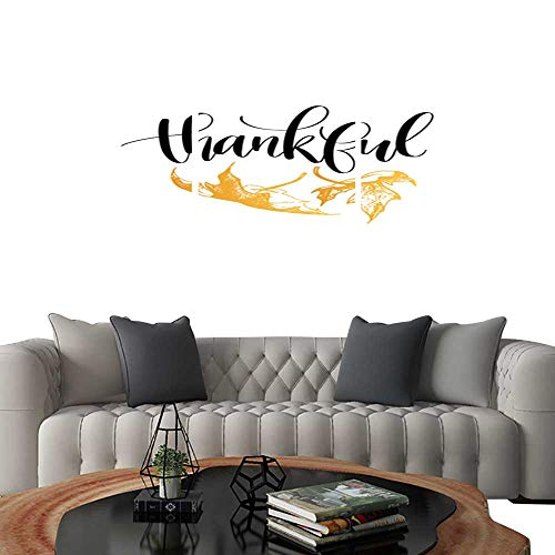 UHOO Triptych Art SetThankful Vector Lettering on White Background Maple Leaves Illustration for Thanksgiving Invitation or Greeting Card Modern Wall Art for Living Room Decoration -