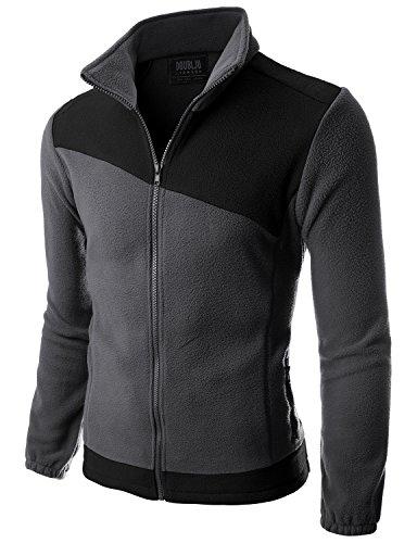 Doublju Mens Two asymmeteric Basketball Comfort CHARCOALBLACK Fleece Jacket,L