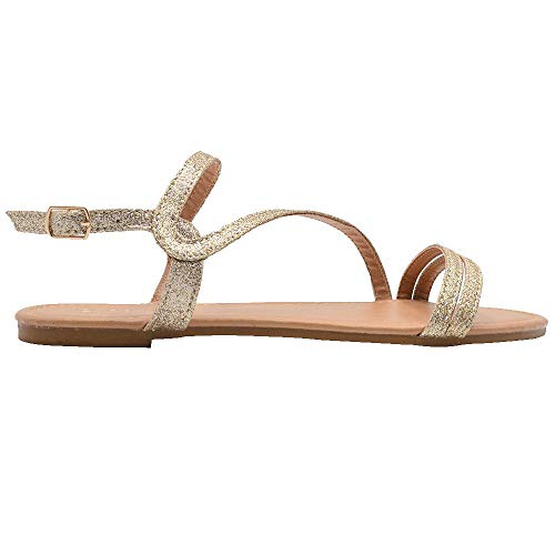 Gold Toe Ladies Fashion Sandals 10 M US Glitter Slingback Strappy Summer Flats Gold ()