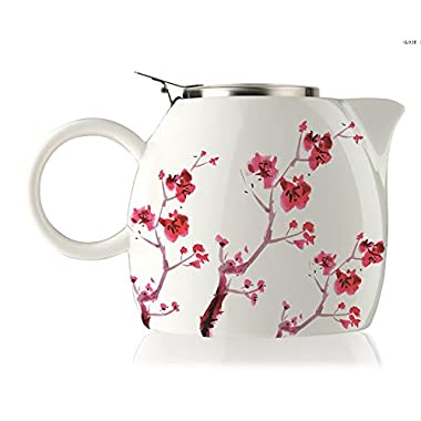 Tea Forte PUGG 24oz Ceramic Teapot with Improved Stainless Tea Infuser, Loose Leaf Tea Steeping For Two, Cherry Blossoms