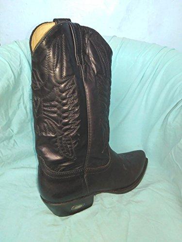 194 194 194 Ricamati Punta Cowboy Loblan Stivali Vera Vera Vera Nero a Decori Moto Western Pelle 16Udz