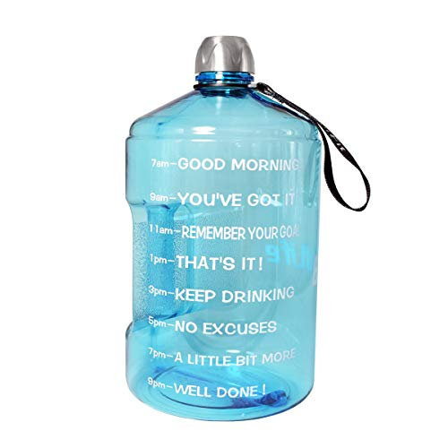 QuiFit 1 Gallon Water Bottle Reusable Leak-Proof Drinking Water Jug for Outdoor Camping Hiking BPA Free Plastic Sports Bottle (Light Blue)