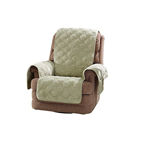 Sure Fit Plush Comfort Furniture Protector with Non Slip Backing, Recliner, Sage