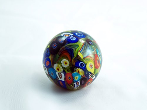 - Tripact Inc M Designed Art Hand Glass Art Dark Assorted Murrine Ball Paperweight PW-6016