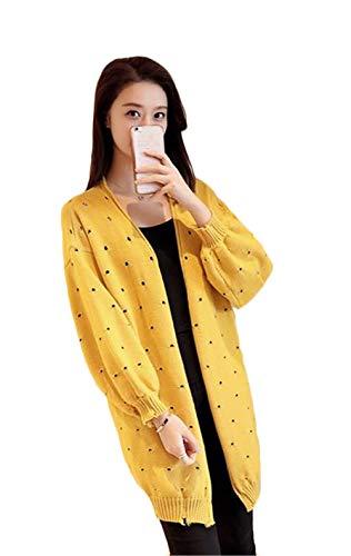 [ディーハウ] レディース カーディガ セーター かわいい 厚手 ニットトップス 長袖 ゆったり 春秋 きれいめ 大きいサイズ おしゃれ 無地 ロング 通学 通勤 おしゃれ 前開き 女性用