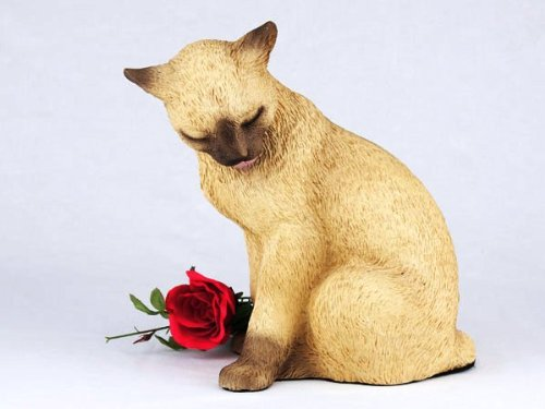 Siamese Cat Cremation Pet Urn for secure installation of your beloved pet's ashes indoors or outdoors