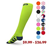 Go2Socks GO2 Compression Socks for Men Women Nurses Runners 20-30 mmHg (high) - Medical Stocking Maternity Travel - Best Performance Recovery Circulation Stamina - (Neon,L)