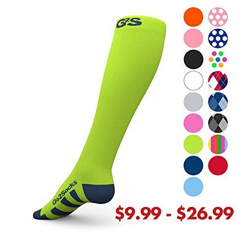 Go2Socks Compression Socks for Men Women Nurses Runners 20-30 mmHg (high) - Medical Stocking Maternity Travel - Best Performance Recovery Circulation Stamina - (Neon,M)