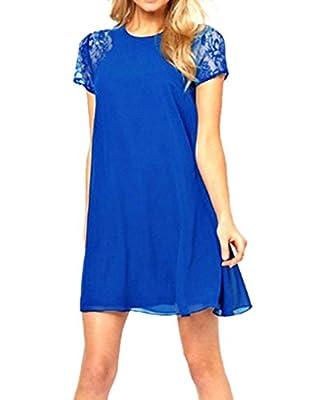 PAKULA® Women's Short Sleeve Keyhole Back Lace Shift Dress