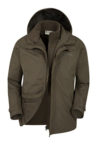 Mountain Warehouse Fell Mens 3 In 1 Jacket  Water Resistant Rain Coat Khaki X Large