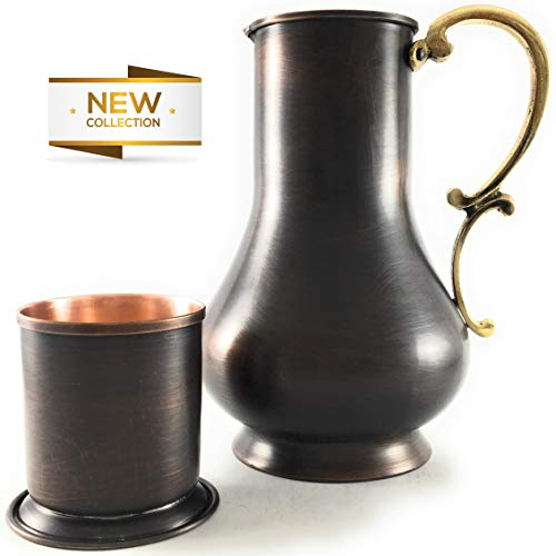 The Silk Road Trade - KS Series-NEW 2019-45oz Copper Pitcher and 7oz Cup Set with Lid, Moscow Mule Water Jug, Ice Tea and Juice Beverage, Desktop/Bedside Night Water Carafe Ayurvedic(Antique Copper)