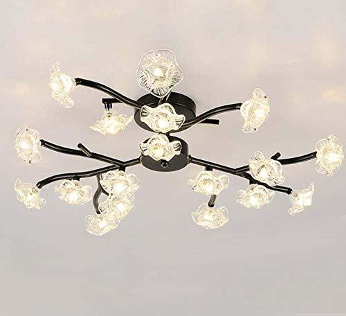 (Modern Crystal Ceiling Lamp G4 Plum Blossom Branch Glass Flower Shape Chandelier Nordic Living Room Ceiling Mount Lamp,Black,18Heads)