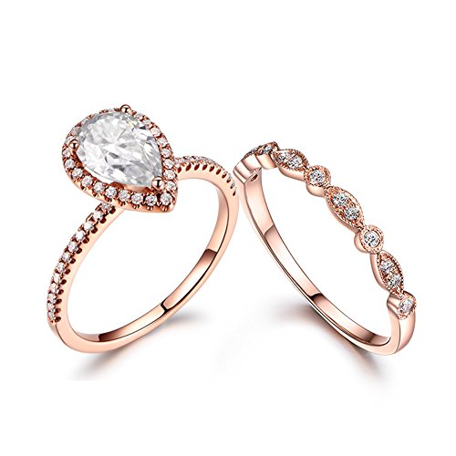 MYRAYGEM-wedding ring sets 2pcs 5x7mm Pear Cut Moissanite Halo Ball Prong Ring Set,14k Rose Gold Marquise Milgrain Deco Diamond Band ()