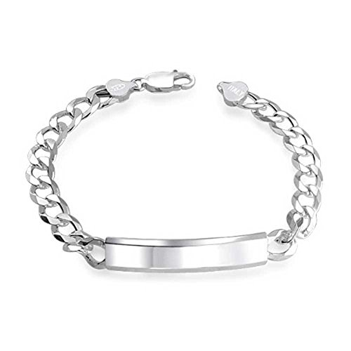 NYC Sterling 925 Sterling Silver Italy Curb Chain Link 7MM Mens Id Bracelet (8 Inches)