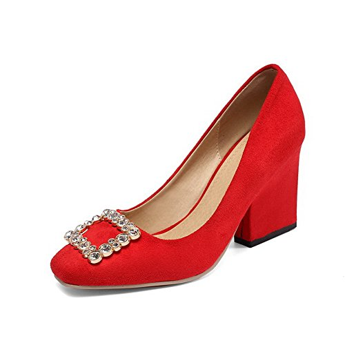 AllhqFashion Mujeres Tacón ancho Sólido Puntera Cuadrada Cerrada De salón con Diamante Rojo