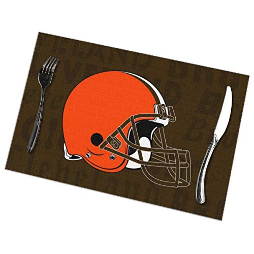 Marrytiny Design Colourful Placemats Heat Resistant Table Mats Cleveland Browns Football Team 100% Polyester Dining Table Set of 6 Kitchen Coffee Mat 12 x 18 Inch