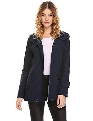 Pinspark Women's Waterproof Rain Jacket Lightweight Raincoat With Hoodie Windbreaker