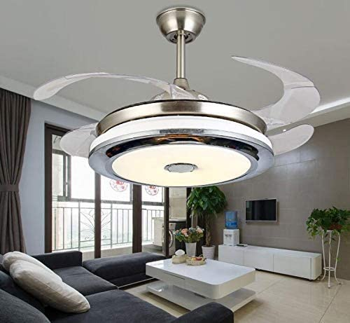 Sweety House 42 Smart Bluetooth Music Player with Remote Control Ceiling Fan Chandelier with 3 Color Lights 3 Speed Stealth Blade, Silent Motor Lighting Chandelier with LED kit 42 style1